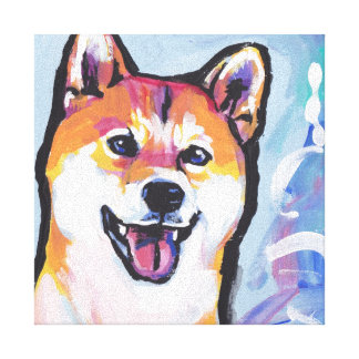 Shiba Inu Bright Colorful Pop Dog Art Canvas Print
