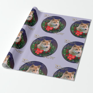 Shiba Inu Christmas Wreath Wrapping Paper