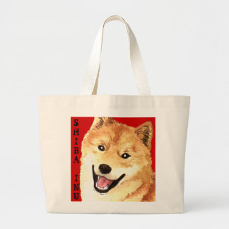 Shiba Inu Color Block Large Tote Bag