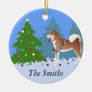 Shiba Inu Dog Decorating Christmas Tree Ceramic Ornament