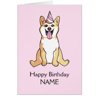 Shiba Inu Dog Drawing Happy Birthday Template
