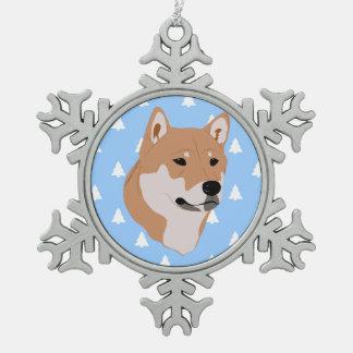 Shiba Inu Dog White Christmas Tree Pattern Snowflake Pewter Christmas Ornament