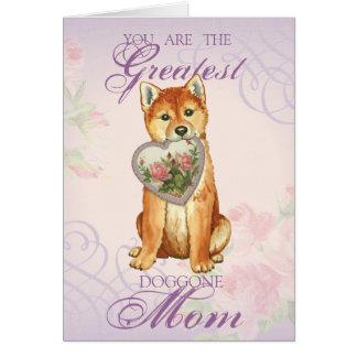 Shiba Inu Heart Mom Card