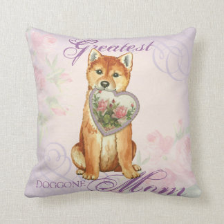 Shiba Inu Heart Mom Throw Pillow