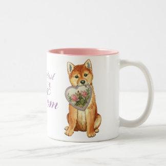 Shiba Inu Heart Mom Two-Tone Coffee Mug
