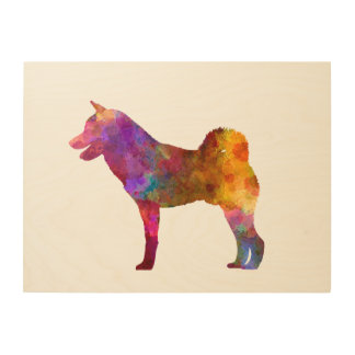 Shiba Inu in watercolor Wood Canvases