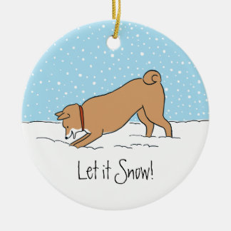 Shiba Inu Let it Snow - Happy Dog Holiday Ceramic Ornament