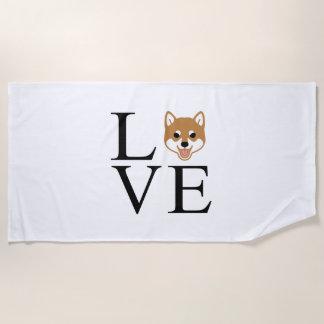 Shiba Inu Love Beach Towel