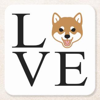 Shiba Inu Love Square Paper Coaster