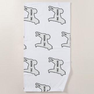Shiba Inu name silhouette cream Beach Towel