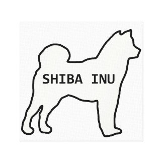 Shiba Inu name silhouette cream Canvas Print