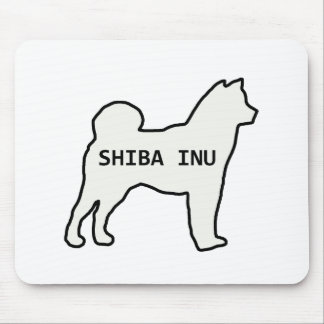 Shiba Inu name silhouette cream Mouse Pad