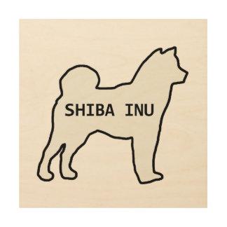 Shiba Inu name silhouette cream Wood Wall Art
