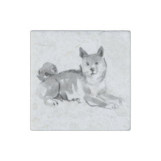 Shiba Inu Original Painting 2 Dog Year 2018 Marble Stone Magnets