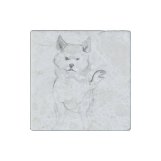 Shiba Inu Original Painting 4 Dog Year 2018 Marble Stone Magnets