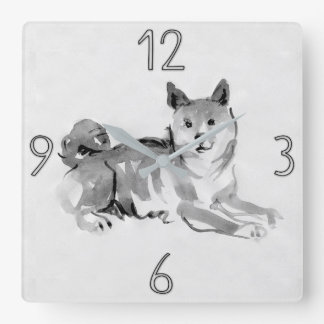 Shiba Inu Original Painting Dog Year 2018 Clock 2