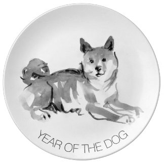 Shiba Inu Painting 2 Dog Year Collector Plate