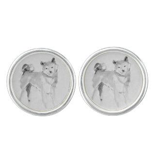 Shiba Inu Painting 3 Chinese Dog Year Zodiac CuffL Cufflinks