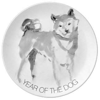 Shiba Inu Painting 3 Dog Year Collector Plate