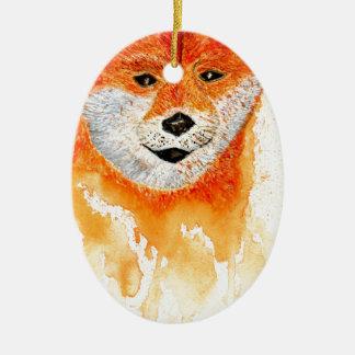 Shiba Inu Portrait Ceramic Ornament