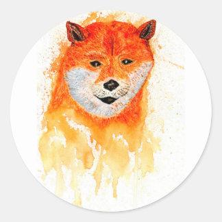 Shiba Inu Portrait Round Sticker