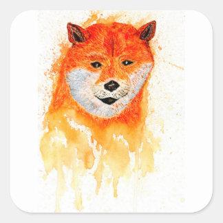 Shiba Inu Portrait Square Sticker