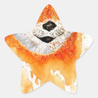 Shiba Inu Portrait Star Sticker