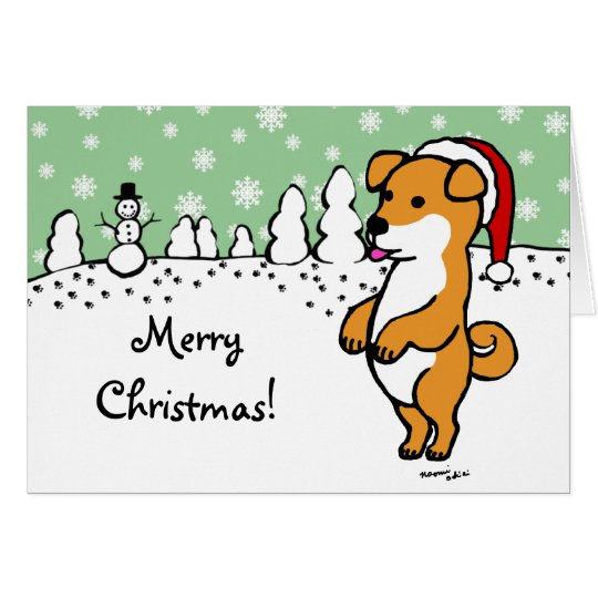 Shiba Inu Puppy Christmas Santa Card