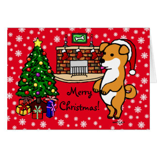 Shiba Inu Puppy Christmas Santa Red Card