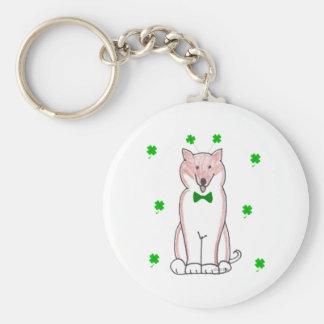 Shiba Inu Saint Patricks Day Basic Round Button Keychain