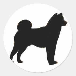 Shiba Inu silhouette Classic Round Sticker