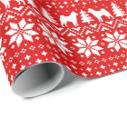 Shiba Inu Silhouettes Christmas Sweater Pattern Wrapping Paper