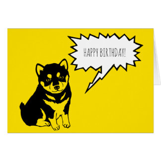 Shiba Inu Speech Bubbles Happy Birthday Greeting Card