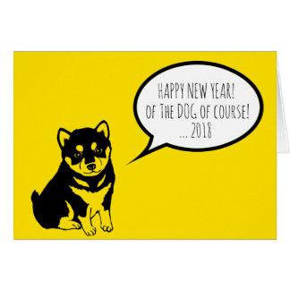 Shiba Inu Speech Bubbles Happy New Year 2018 Card