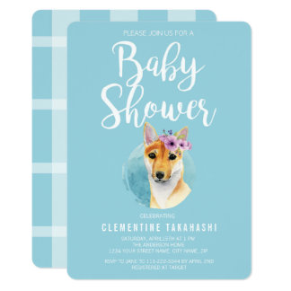 Shiba Inu with Flower Crown | Baby Shower Blue Card