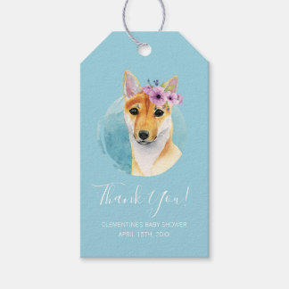Shiba Inu with Flower Crown | Baby Shower Blue Gift Tags