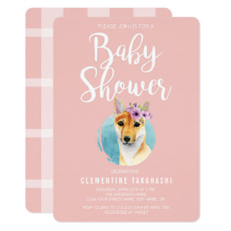 Shiba Inu with Flower Crown | Baby Shower Pink Card