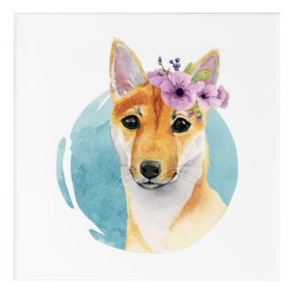 Shiba Inu with Flower Crown Watercolor Painting Acrylic Wall Art