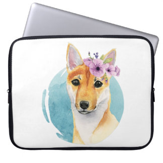 Shiba Inu with Flower Crown Watercolor Painting Laptop Sleeve