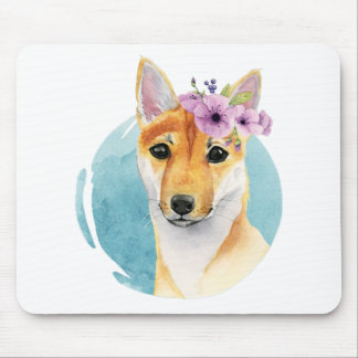 Shiba Inu with Flower Crown Watercolor Painting Mouse Pad