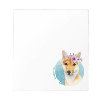 Shiba Inu with Flower Crown Watercolor Painting Notepad