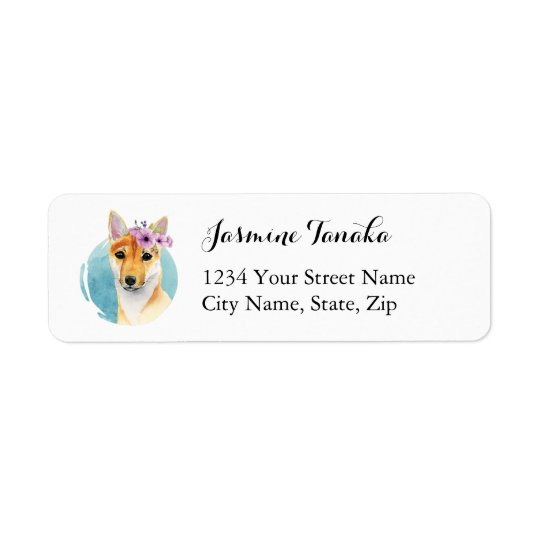 Shiba Inu with Flower Crown Watercolor Painting Return Address Label
