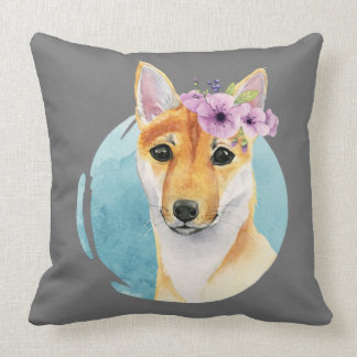 Shiba Inu with Flower Crown Watercolor Painting Throw Pillow