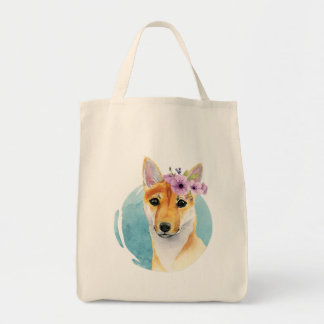 Shiba Inu with Flower Crown Watercolor Painting Tote Bag