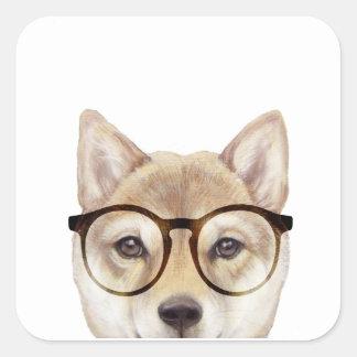 Shiba Inu with Glasses Square Sticker