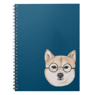Shiba Inu with Oversized Round Framed Glasses Notebooks