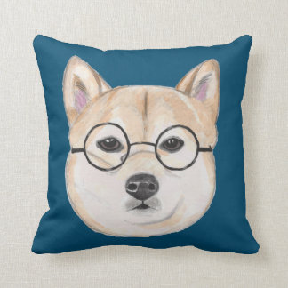 Shiba Inu with Oversized Round Framed Glasses Pillow
