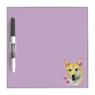 Shiba Inu with Sakura Watercolor Painting Dry Erase Board