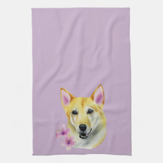 Shiba Inu with Sakura Watercolor Painting Kitchen Towel