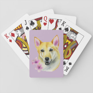 Shiba Inu with Sakura Watercolor Painting Playing Cards